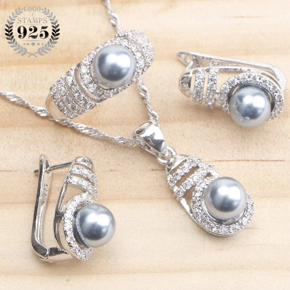 Bridal Pearl Silver 925 Jewelry Sets For Women Earrings Costume