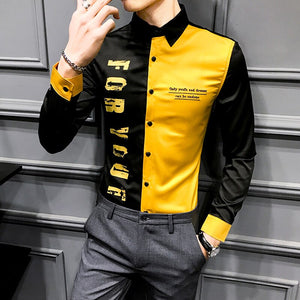 British Style Men Shirt Spring 2020 Patchwork Color Letter Shirt Men Long Sleeve Slim Fit Young Man Blouse Men Club Tuxedo 3XL-M