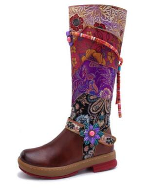 cheap for discount bc2d5 588bb Buono Scarpe 2019 New Chic Women Flowers Long Boots Patchwork Fringe Laces  Shoes Round Toe Real Leather Bohemian Flat Boots Lady