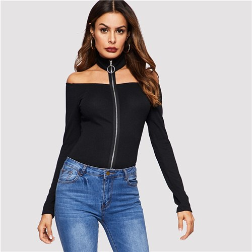 COLROVIE Black Solid Zip Up Halter Off The Shoulder Casual T-Shirt Womens 2019 Spring Fashion Long Sleeve Tee Ladies Sexy Tops