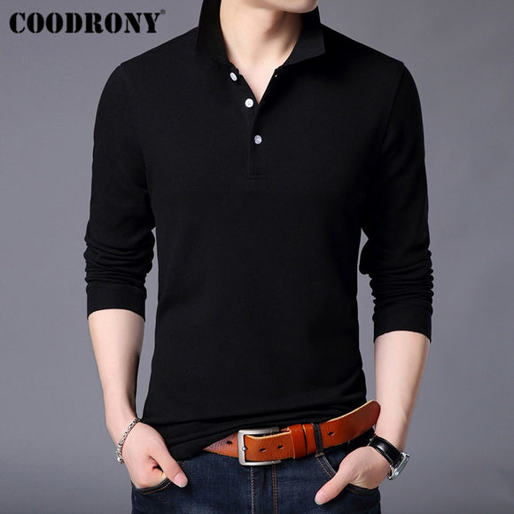 COODRONY Long Sleeve T Shirt Men Streetwear Tshirt Classic Casual Turn-down Collar T-Shirt Men 100% Cotton Tee Shirt Homme 95001