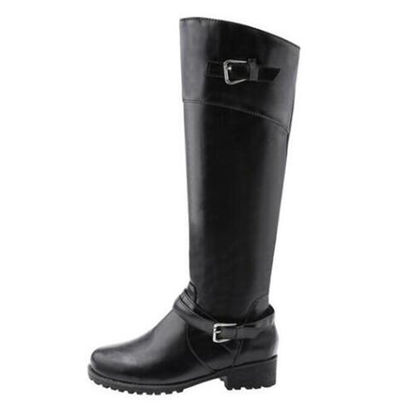 9f07acd1b COVOYYAR 2019 Double Buckle Knee Boots Autumn Winter Vintage Women  Motorcycle Riding Boots Low Heel Women ...