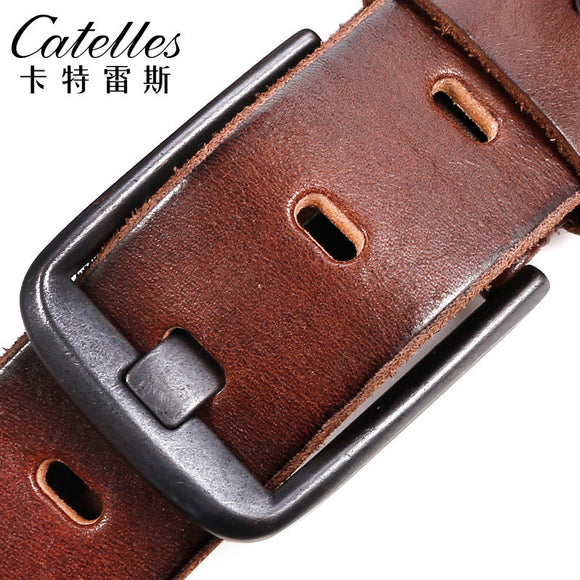 Catelles Men's Belt strap vintage male genuine leather belt casual man Pin Buckle Designer