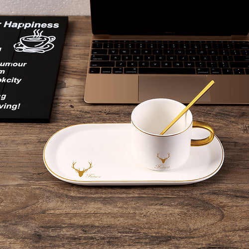Ceramic coffee cup European small luxury single elegant simple mug mug with spoon and plate Nordic ins