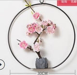 Chinese Style Artificial Peach Flower Plum Design Wall Hanging Ornament Wind Chime Decoration Maison Garland Diy Farmhouse Decor