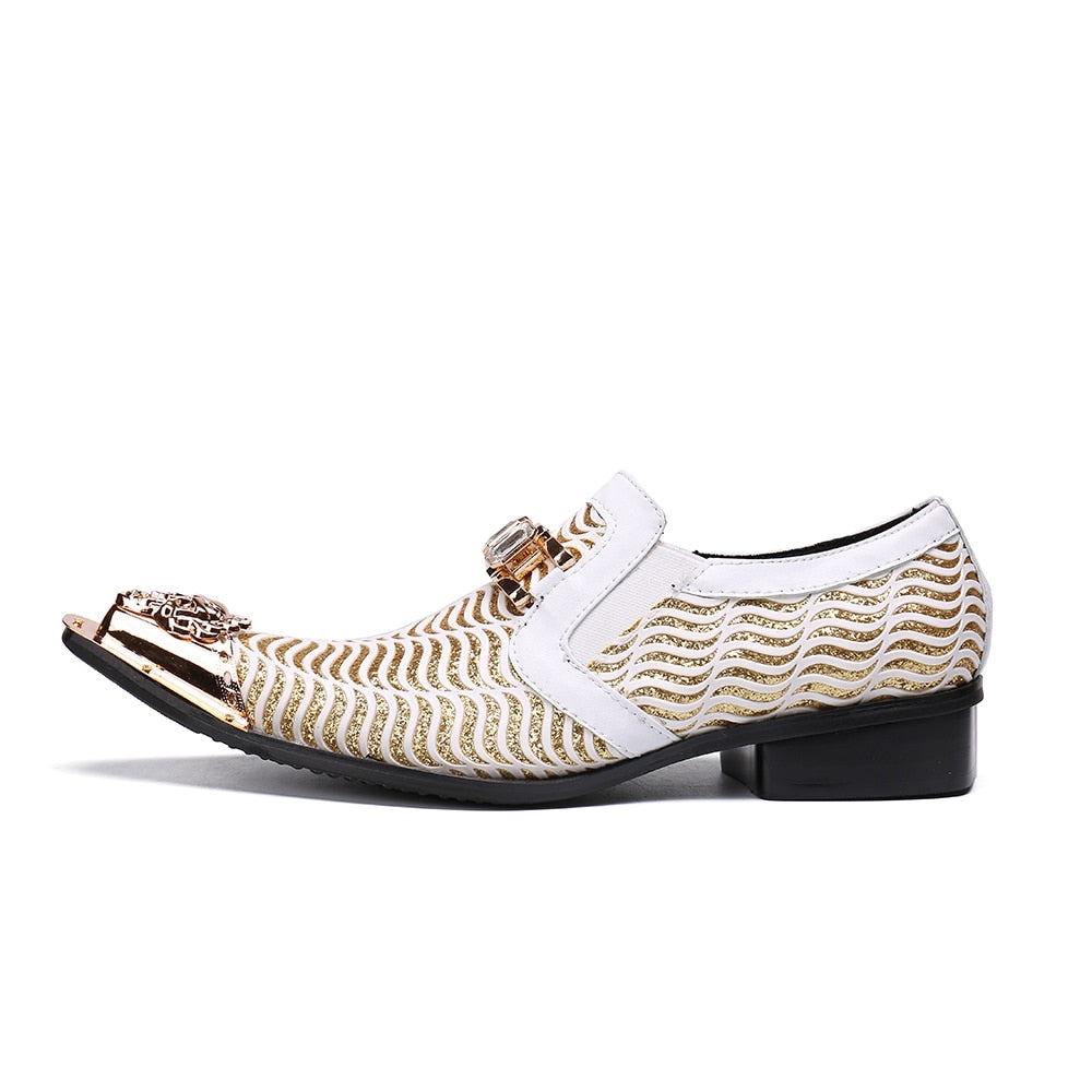 4d0ca8a4aa Christia Bella Fashion White Wedding Shoes Glitters Mens Pointed Toe Bling  Bling Casual Dress Shoes Luxury Brand Oxford Shoes