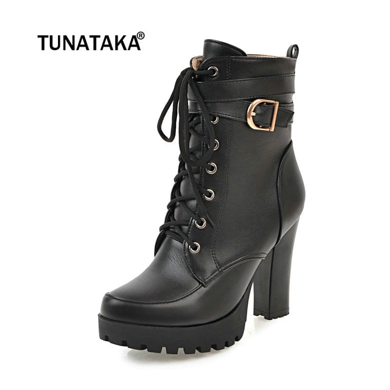 Autumn Womens Lace Up Chunky Platform High Block Heel Ankle Boots Riding Shoes