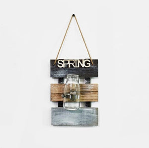 Creative Hanging Glass+Wooden Base Flower Pot Home Wall Decoration