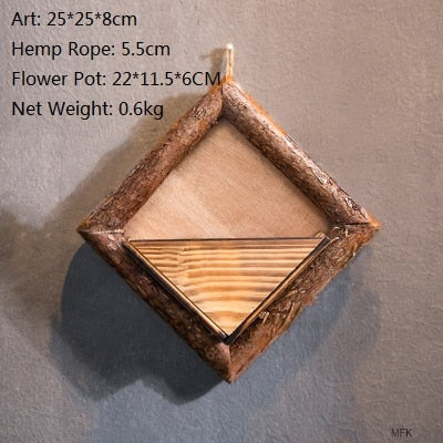 Creative Wall Hanging Wooden Flowerpots With Hemp Rope With Flower Ornamental Hanging Baskets Garden Restaurant Home  Decor