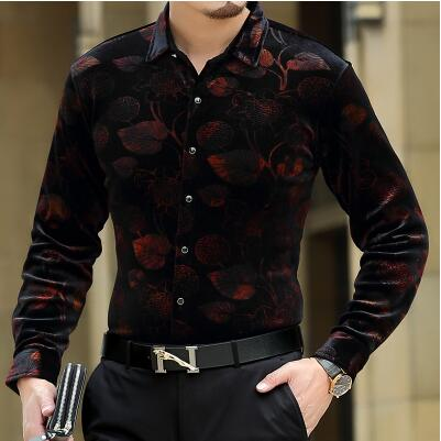 Creative leaves 3d print fashion casual luxury long-sleeved shirt New 2019 quality gold velvet soft comfortable men shirt M-XXXL