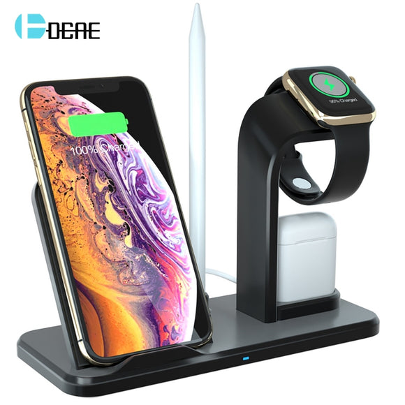 DCAE 10W Qi Wireless Charger Stand for iPhone XS XR X 8 AirPods Apple Watch Fast Charging Dock Station for iWatch Series 4 3 2 1
