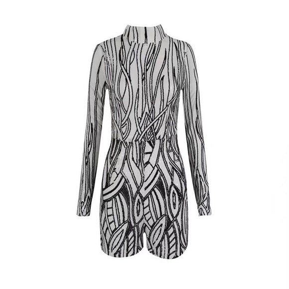 2019 Summer Hot Playsuits Women Rompers Jumpsuits Long sleeve Geometric Sexy Sequin Short  Bodysuit