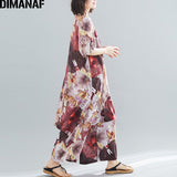 DIMANAF Plus Size Women Sets Summer Loose Big Size Female Lady Tops Shirt Long Pants Elegant Vintage Chiffon Print Floral Suit