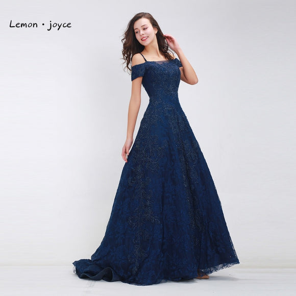 Dark Blue Prom Dresses Long 2019 Elegant Boat Neck Beading Lace A-line Floor-Length Luxury Evening Dresses Plus Size