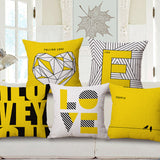 Decorative throw pillow cover case yellow love shape letter geometric cotton linen cushion cover for sofa home decor cojines