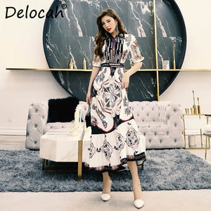 Delocah Women Spring Summer Dress Runway Fashion Designer Half Gorgeous Beading Vintage Printed Elegant Slim Long Ladies Dresses