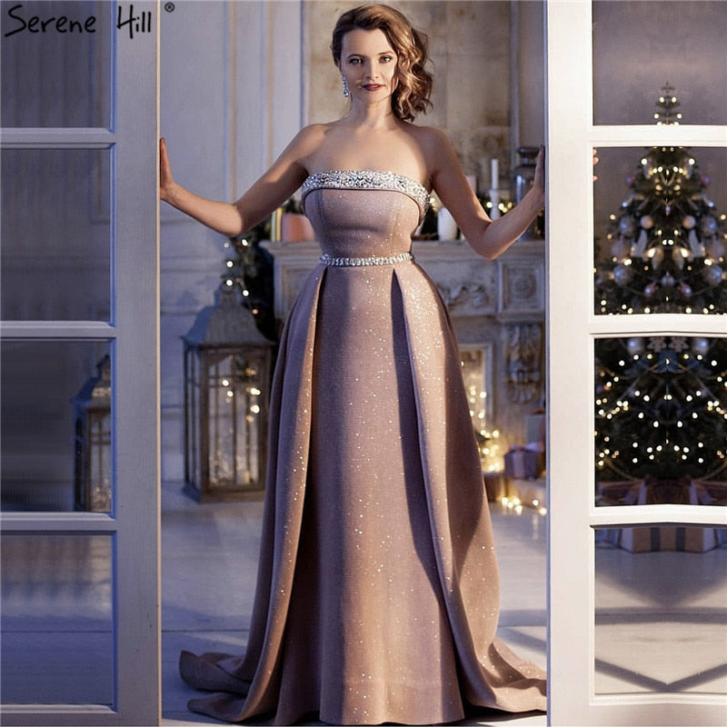 37b64d5add5 ... DuBai Designer Pink Beading Luxury Slim Sexy Mermaid Evening Dresses  Vintage High-end Evening Gowns ...