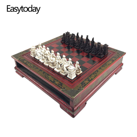 Easytoday Wooden Chess Game Set Resin Character Modeling Chess Pieces Chinese Retro Terracotta Warriors Wooden Chessboard Gift