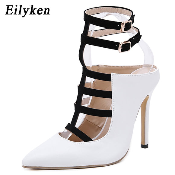 Eilyken 2020 New Design White High Heels Pumps Sandals 12CM Fashion Pointed Toe Buckle Strap Gladiator Thin Heel Woman Shoes