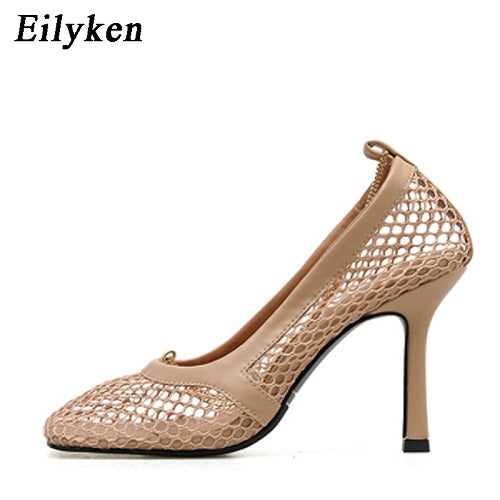 Eilyken 2020 New Fashion Autumn High Heels Women Pumps Sexy Mesh Square Toe Shallow Female Apricot Black Party Shoes