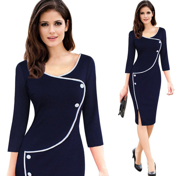 Elegant Slim Office Dress O-neck Solid Bodycon Women Fashion Formal Dress Ladies Contrast Color Work Dresses Vintage Vestidos