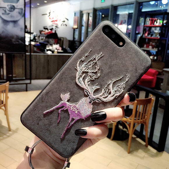 Embroidery Leather Phone Case For iPhone 8 Plus X XR XS Max 7 6 6S Plus Phone Coque For Samsung S9 S8 Plus note8 s9plus s9+