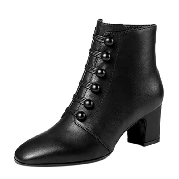 England Style Ankle Boots Women Leather Short Boot Button Winter Lady Elegant Evening Party High Heel Shoes Pointed Toe Botas