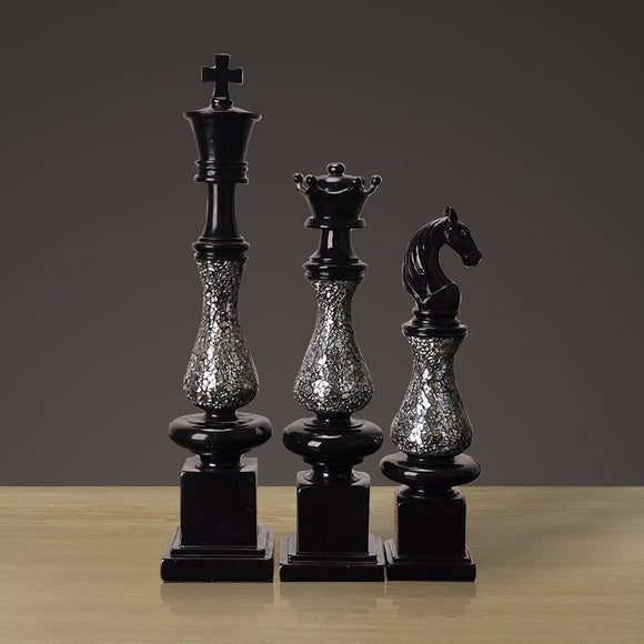 European home resin crafts black set of three chess ornaments posted glass home decorations ornaments