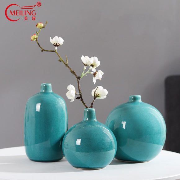 Exquisite Small Round Vase Crystalline Ceramic Blue Apricot Vase For Single Flower Office Tabletop Restaurant Home Decorations