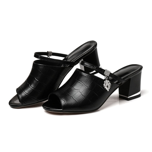 7f6bacce90a81 FEDONAS 2018 Brand Designer Women Genuine Leather Shoes Woman Rhinestone  Sandals Slippers Casual High Heeled Flip