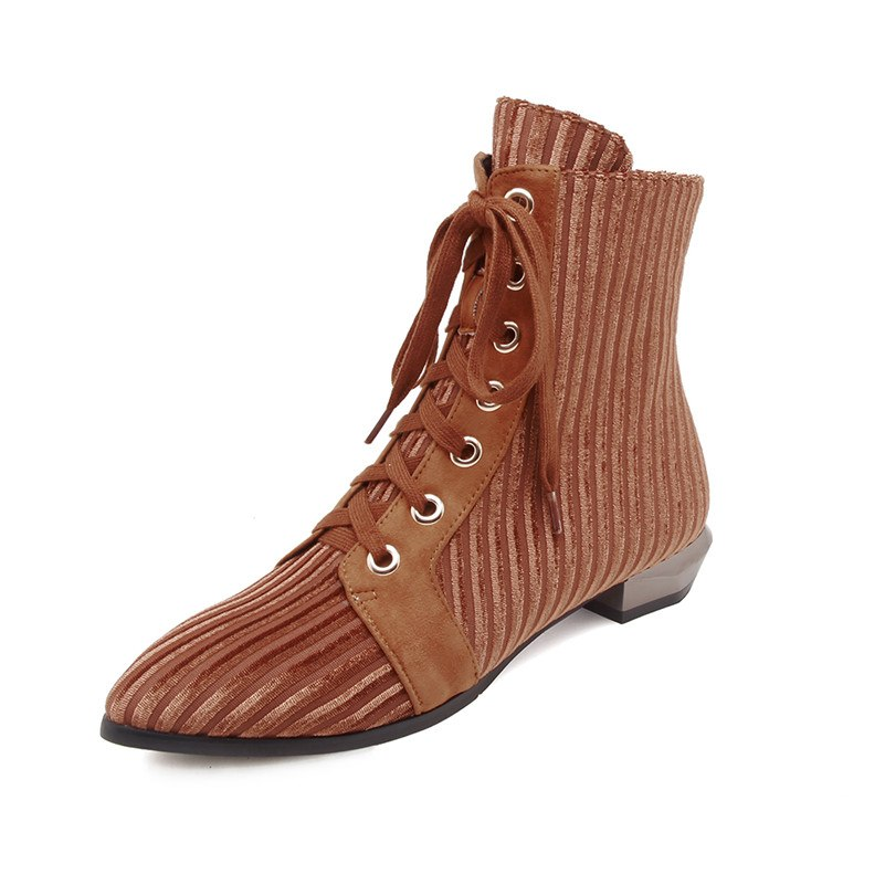 3e4a6e32d82 FEDONAS 2019 Retro Women Pointed Toe Autumn Winter Shoes Woman High Heeled  Lace Up Martin Shoes Woman Short Motorcycle Boots