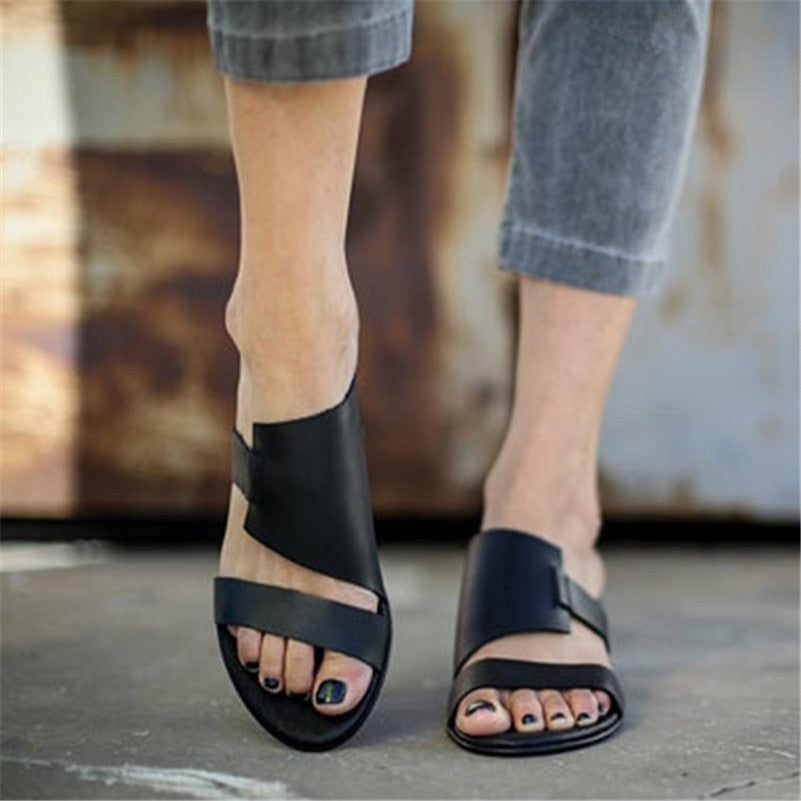 3559805ff18 FEDONAS Brand Design Vintage Rome Women Sandals 2019 Summer New Flats Shoes  Woman Fashion Pu Leather ...