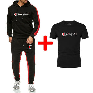 Famous brand New Fashion Men Sportswear Print Hoodies+Pants+Tee 3 PCS Pullover Hip Hop Mens tracksuit Sweatshirts Clothing Sets