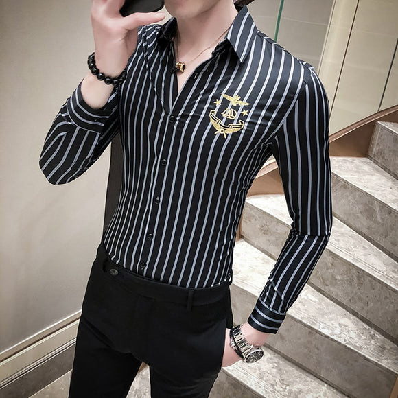 Fashion Casual Striped Shirt Men Long Sleeve Shirts Camisa Designer Streetwear Social Slim Fit Dress Men Clothes Blouses Homme