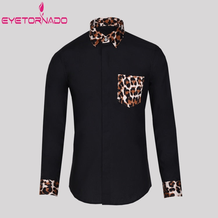 Fashion Leopard Print Men Shirt White Slim Fit Pockets Casual Business  Dress Shirt Plus Size Long Sleeve Business Party Shirts