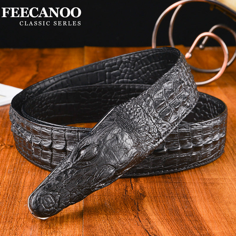 Men/'s Belt Crocodile Pattern Genuine Leather Belt Business Casual Crocodile Belt