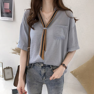 Fashion women blouses 2019 plus size OL blouse women shirt short sleeve summer women tops shirts blusas feminine blouses 0626 40