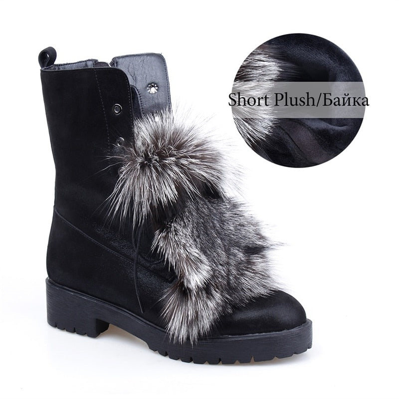 17a0e1a3b66 Fox Fur Snow Boots Fashion Woman Winter 2019 Luxury Plush Ankle Boots Lady  Winter Warm Wool Shoes Genuine Leather Boots