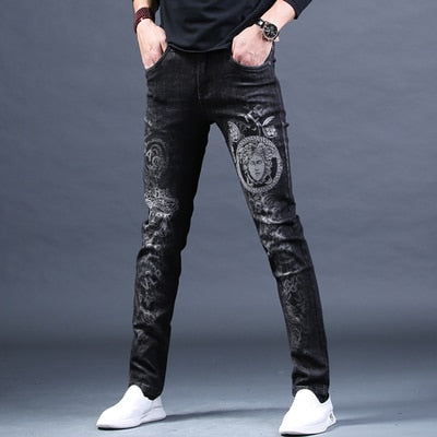 Free Shipping New Male fashion men's jeans Embroidered Print High-end Brand Trousers Hole Casual slim Pants Loose Straight