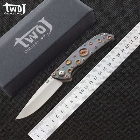Free shipping,High quality TWOJ 3501 Folding knife,Blade:S35VN(satin),Handle:TC4 Plane bearing outdoor camping Folding knife EDC