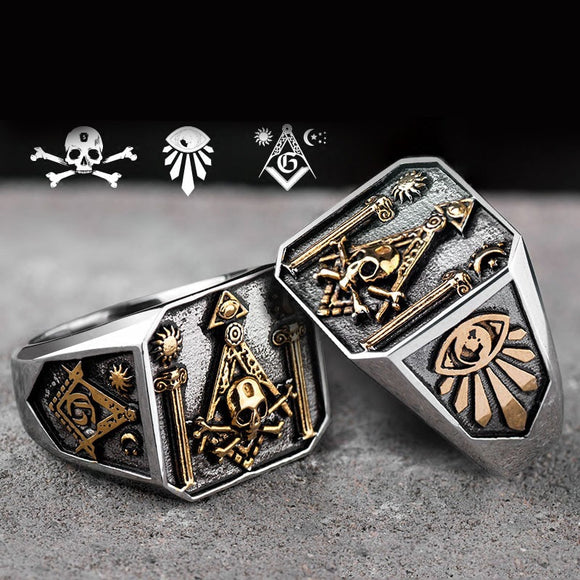 Freemasonry, men's rings, European and American skeletons, personalized titanium steel punk accessories