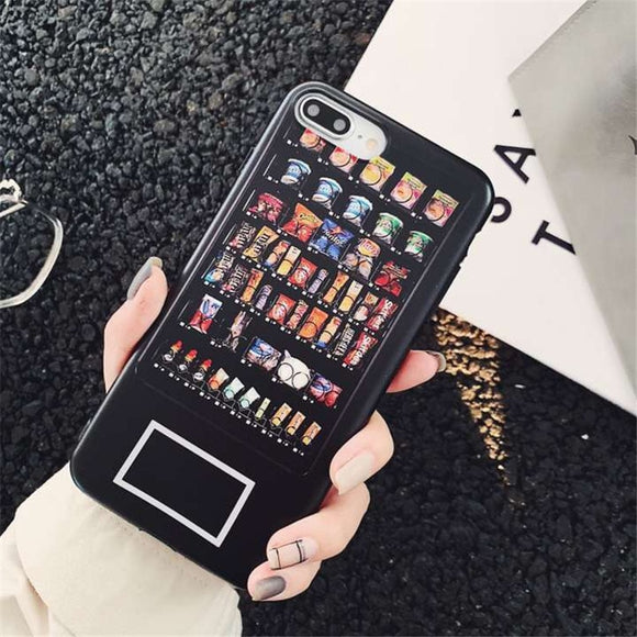 Funny Vending Phone Case for iPhone X 6 6s 7 8 plus TPU Black Back Cover for iPhoneXS Max Cartoon snack machine Soft Cases