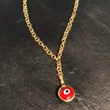 GULCE DERELI, RED LARGE EVIL EYE CHARM, AMULET, CHARM NECKLACE, CHAIN NECKLACE, NEW SEASON, GIFT BOX, GOLD/SILVER PLATED
