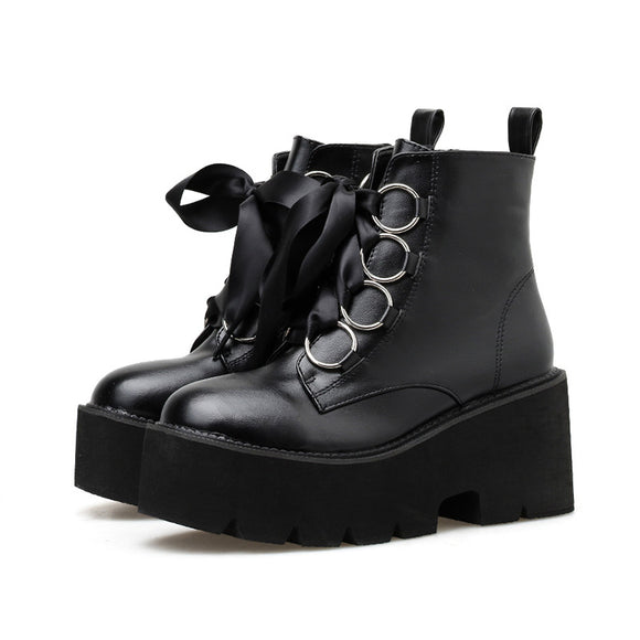Gdgydh 2019 Autumn New Women Ankle Boots Round Toe Lace-up Platform Short Boots Female PU Soft Leather Black Boots Drop Shipping