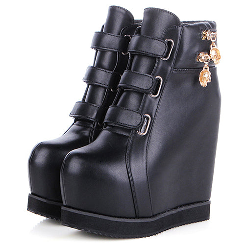Gdgydh 2019 Autumn Women Ankle Boots PU Soft Leather Round Toe Skull Hook Loop Female Short Boots Increasing Heels Women Shoes