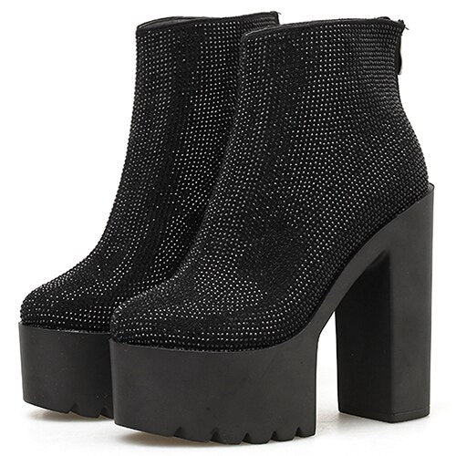 Gdgydh Sexy Crystal Women Boot High Heel Ankle Boots Goth Black Leather Suede Women Shoes Autumn Spring Platform Party Shoes