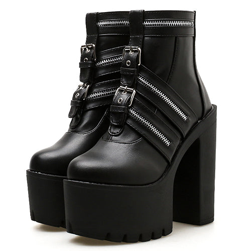 Gdgydh Ultra High Heels Ankle Boots Para Mulheres Sexy Zipper Gothic Black Leather Platform Party Shoes Female Nightclub Shoes