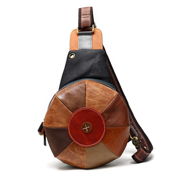 Genuine Leather Women Cowhide One Shoulder Backpack Rucksack Daypack Hat Bag Bohemian Earphone Hole Sling Knapsack Chest Bags