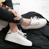Genuine leather women small white shoes all-match ribbon lace muffin shoes girls pearl decorate board shoes espadrilles ladies
