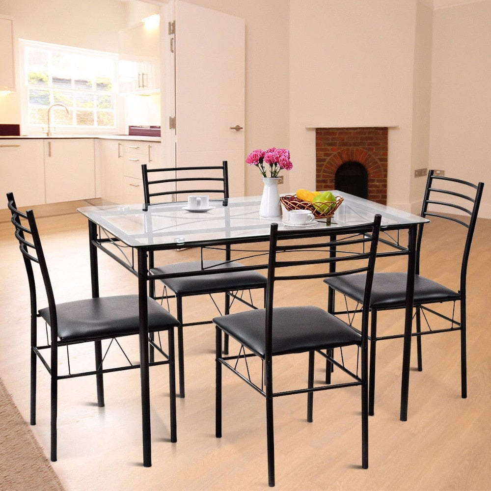 Giantex 5PC Dining Set Modern Dining Room Tempered Glass Top Table & 4  Upholstered Dining Chairs Kitchen Furniture HW56030
